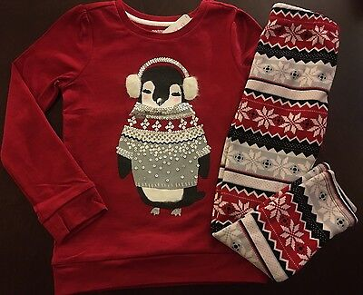 New Gymboree Girl Holiday Shop Red Penguin Tee   Fuzzy Leggings  5 6 7 8 10