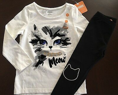 New Gymboree Girl Catastic Ivory Meow Tee &Black Cat Leggings Outfit 4T
