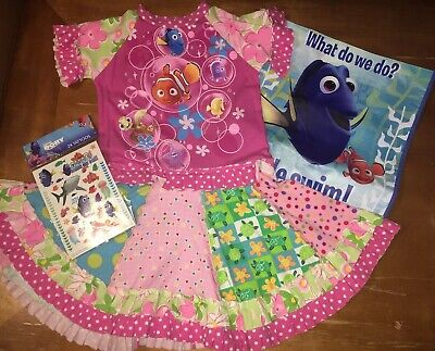 - Disney finding nemo Dory Upcycle Dress Sz 4 5 6 Guc Bag Tattoos Easter Vac