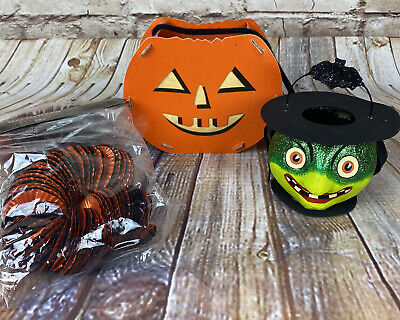 NIP Lot Department 56 Halloween Items Witch & Pumpkin Candy Holders Foil Garland