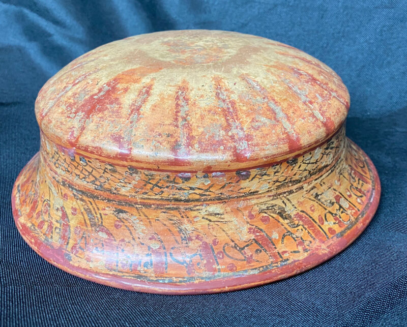 "AMAZING 7"" WIDE MAYAN PRE-COLUMBIAN POTTERY BOWL GREAT COLORFUL EXAMPLE"