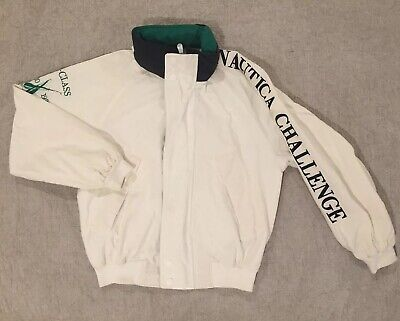 VTG NAUTICA Challenge Mens XL Jacket J Class Sailing Spell Out Coat White Green
