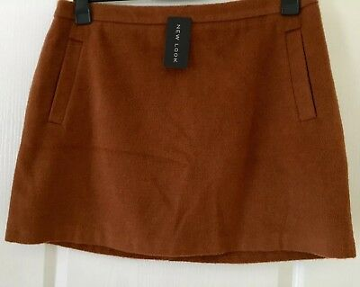 New Look A-Line Skirt Size 18 Caramel Brown Soft Hide Look Finish