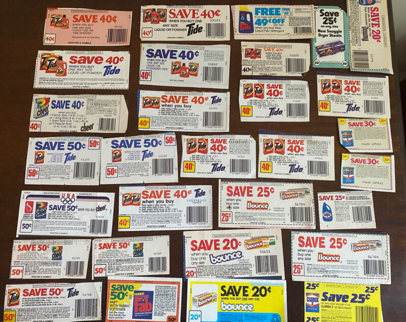 25 Coupon Lot Laundry Detergent/Dryer Sheets: Tide, Bounce, Snuggle+ NO EXP DATE