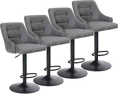 Bar Stools Counter Height Adjustable Swivel Bar Stool PU Leather Bar Chair 4PCS