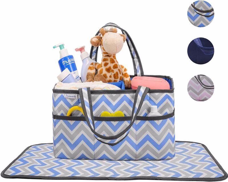 Diaper Caddy, Nursery Organizer: Blue and Grey Chevron, Best Portable Washable