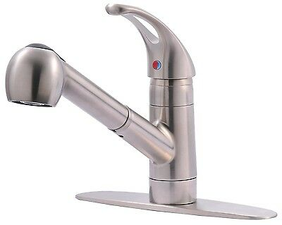 Classic Single Handle Kitchen Sink Faucet With Pull Out Spray - Stainless Steel Classic Stainless Single Handle