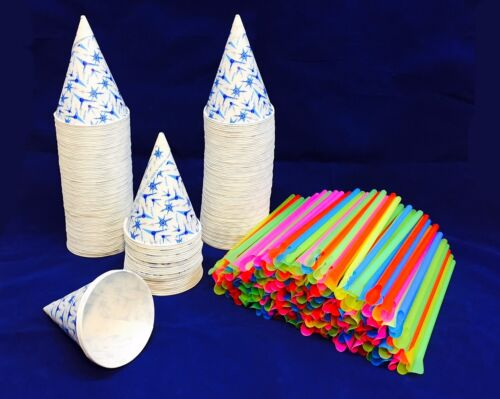200 Snow Cone Paper Cups 6 oz With Spoon Straws, For Machine QUICK FREE SHIPPING