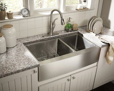 Zuhne Farmhouse Apron Double Bowl 16 Gauge Stainless Steel Kitchen - 16 Gauge Stainless Steel Sinks