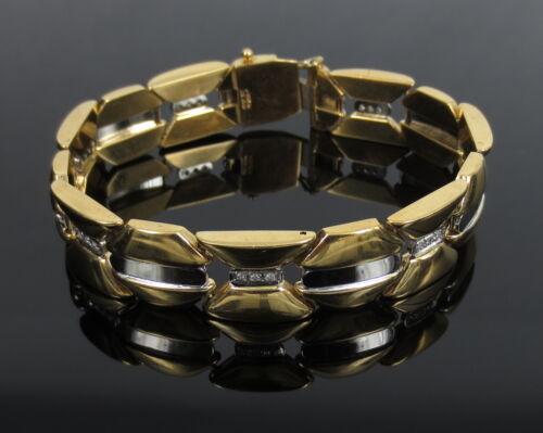 Vintage 0.60ct Diamond 18k White & Yellow Gold Curved Wide Tennis Bracelet