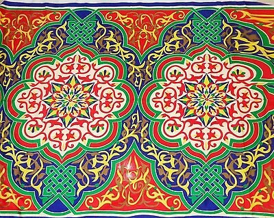 Traditional Egyptian Arabian Arabic Khayameya Tent Fabric Colorful Decor - Egyptian Arabian