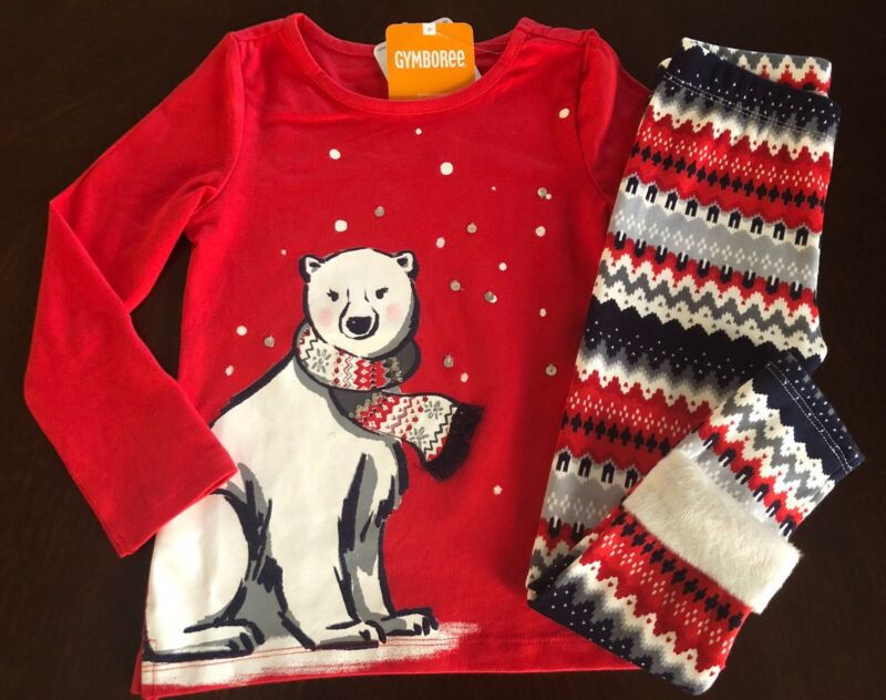 NWT Gymboree Girl North Pole Bear Sparkle Tee & Leggings Outfit  4 5 6 7 8 10 12