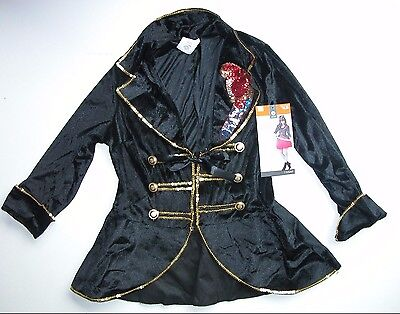 NEW Halloween Costume Adult Pirate Captain Jacket Sequin Parrot S 4-6 M 8-10 (Parrot Pirate Costume)