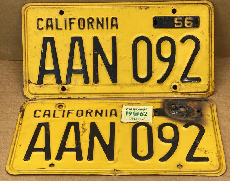 RARE PAIR 1956 YOM DMV CLEAR  AAN 092 ( CALIFORNIA ) CAR LICENSE PLATE- VINTAGE