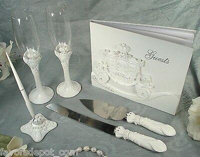 Guest book Pen Toasting flutes Cake Server set  Carriage Fairytale Wedding
