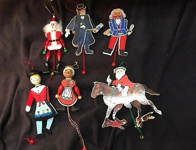 Vintage Pull String Christmas Ornaments Lot Of 6