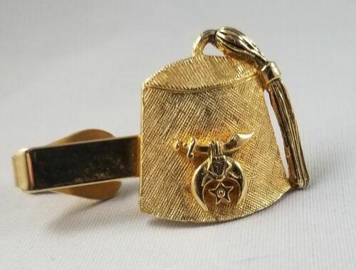 Vintage Shriner Fez Cap Goldtone Tie Bar