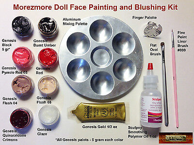 M00150 MOREZMORE Doll Face Painting Blushing Kit Genesis Paints Brushes A60