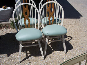 Set-of-4-New-White-Dinette-Chairs-Sidechairs-green-seat-DC7