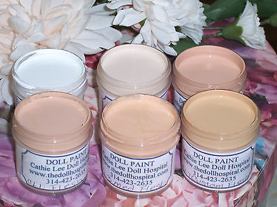 PK3 FLESH PAINT KIT for COMPOSITION & HARD PLASTIC  DOLL REPAIR  6 - 1 oz COLORS on Rummage