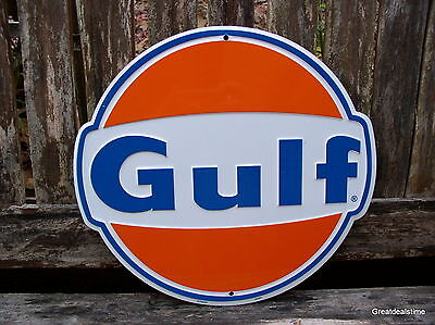 GULF OIL GAS SIGN GASOLINE OLD VINTAGE 1960'S ADVERTISING ANTIQUE GAS PUMP SIGN