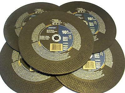 """5 NORTON 10"""" CHOP SAW METAL CUT OFF WHEEL BLADES 89390 GRINDING CIRCULAR MITER"""