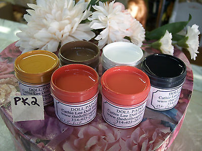 PK2 FACE PAINT KIT for COMPOSITION & HARD PLASTIC  DOLL REPAIR  6 - 1 oz COLORS on Rummage