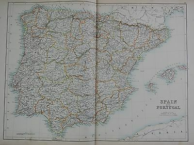 1897 SPAIN AND PORTUGAL LARGE MAP
