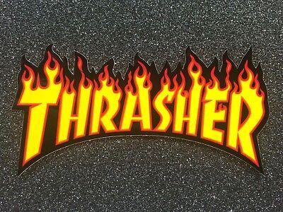 c437bed007d2 Thrasher Flame Logo Skateboard Sticker Medium 6in yellow si
