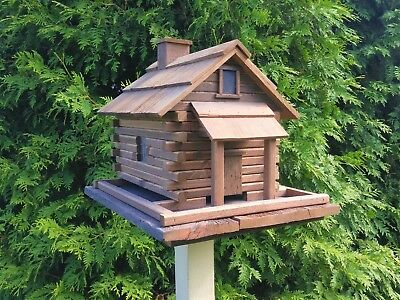 Large Log Cabin Bird Feeder Handcrafted. Made out of reclaimed materials