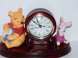 Walt Disney Winnie the Pooh & Piglet Quartz Desk Clock Wooden Base Cherry Finish