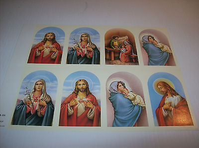 Holy Cards, Prayer Cards Perforated J.B. CO.- Qty 6 Sheets of 8 Cards(48 Cards) (Holy Card Sheet)