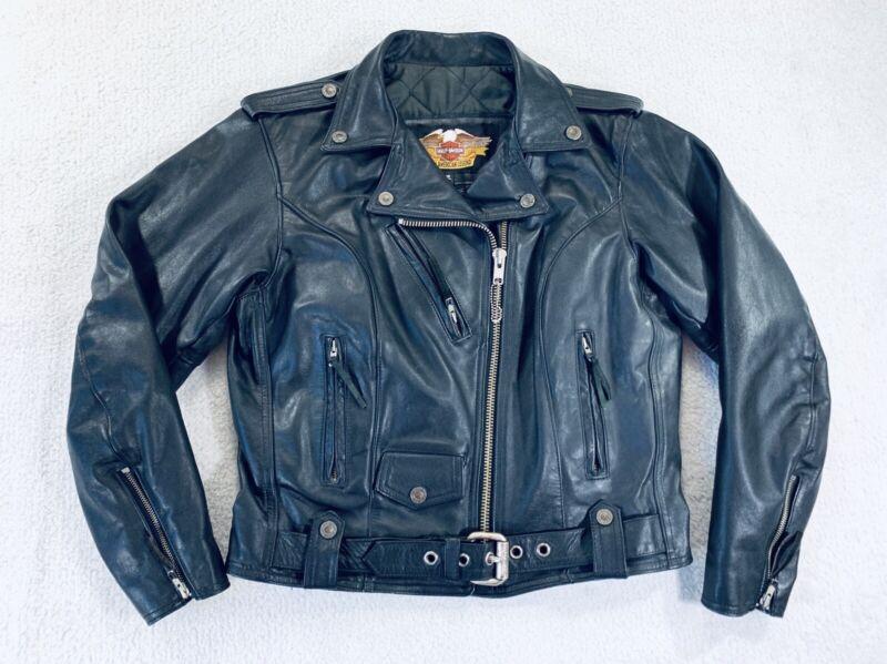 Vtg Harley Davidson Black Leather Motorcycle Riding Jacket Belted Womens Large