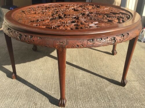 Highly Carved Chinese Dining Table With Glass Top