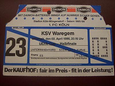 TICKET 1 FC KOLN - WAREGEM 16/4/1986 C3