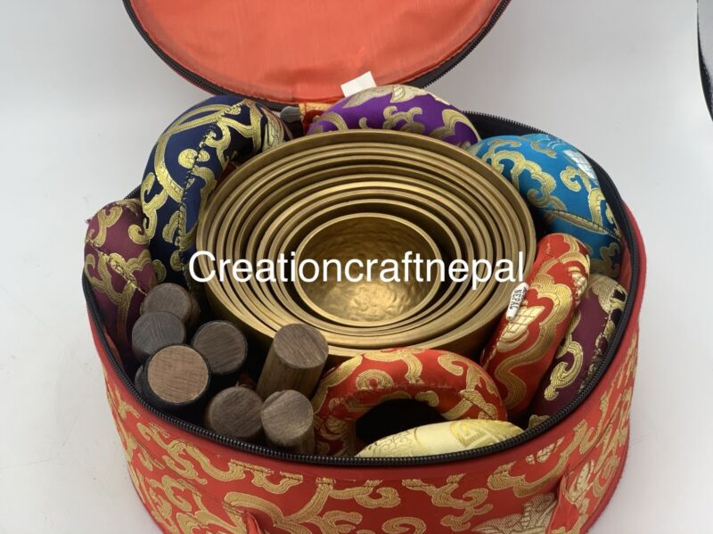 set of 10 Singing bowl-Tibetan Sound Bowl seven chakra Healing Yoga Meditation