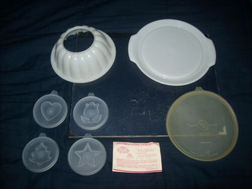"""VINTAGE TUPPERWARE WHITE JELLO MOLD 4 INSERTS LID AND INSTRUCTIONS 8"""" ROUND"""