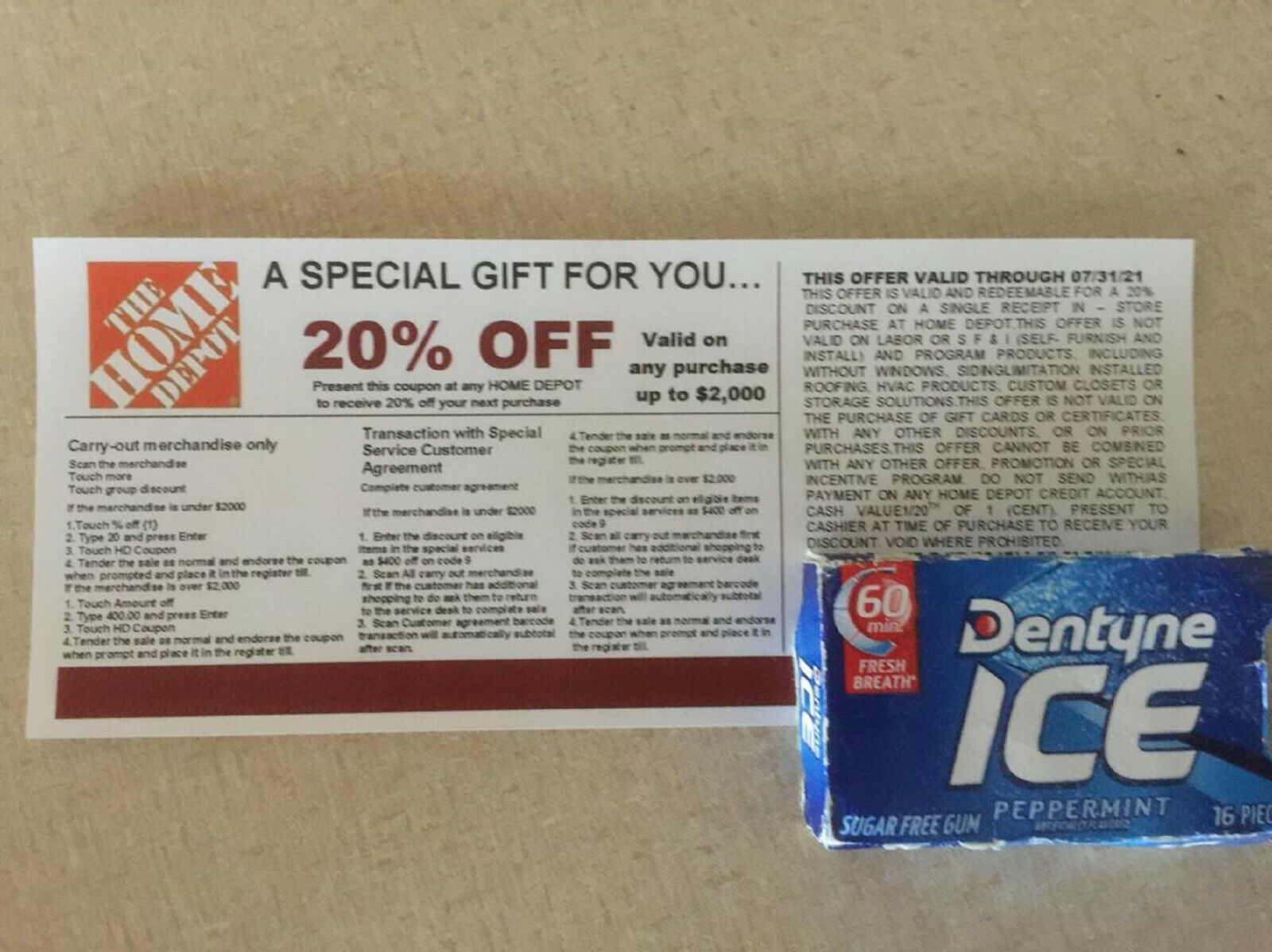 4 20 OFF HOME DEPOT Competitors Coupons Exp 07/31/21 - $20.00