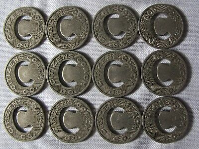 "12 Lot Little Rock Arkansas Transit Tokens C Hole Center 5/8"" AR-480 whotoldya"