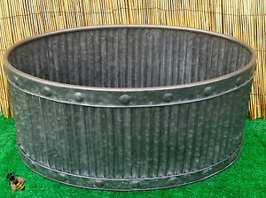 Garden planter metal tub oval zinc ribbed medium pot patio for Oval garden tub