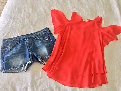 Beautiful Rachel Zoe Coral Top Blouse Size 6 $200 New for sale  Big Bear Lake