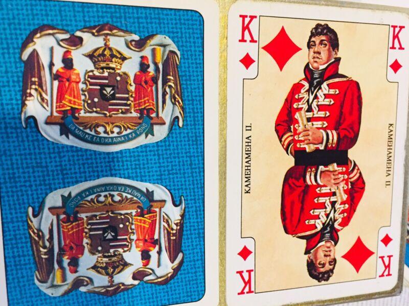 Vintage Double Deck Playing Cards Hawaiian, Kamehamehia II - 2 Cards Missing