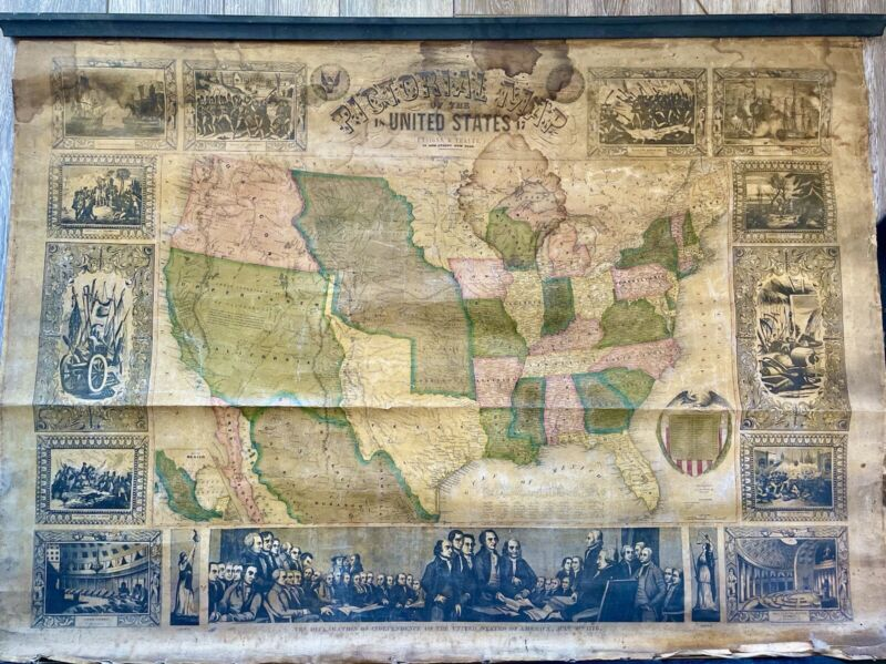 Rare 1848 Thayer Pictorial Wall Map of the United States - Mexican-American War