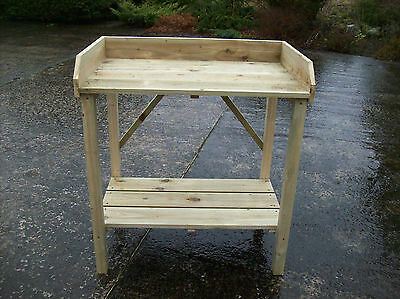 wooden handcrafted potting table,bench,garden,greenhouse,staging,quality.