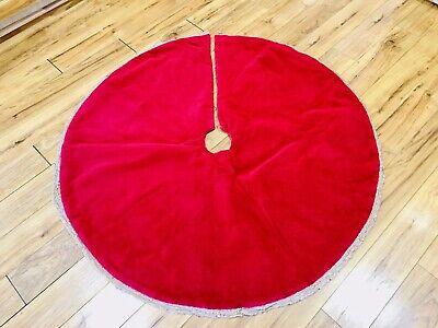 """Vintage Velevt Red Christmas Tree Skirt 48"""""""