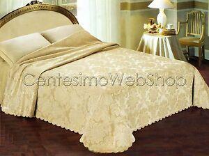 Copriletto matrimoniale 260x290 jacquard damascato beige - Copriletto matrimoniale estivo ...