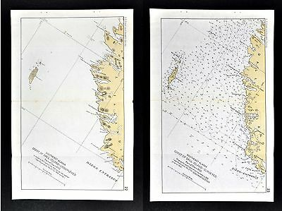 1918 US Coast Survey 2 Maps - Southeast Alaska Dall Island Cape Muzon Port Bazan