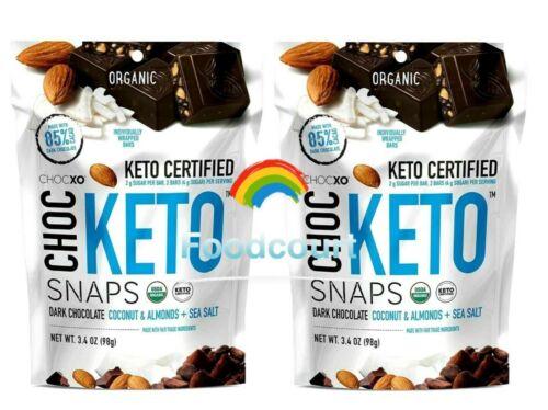 2 Packs Chocxo Organic Choc Dark Chocolate Keto Snaps 14.8 oz Each Pack