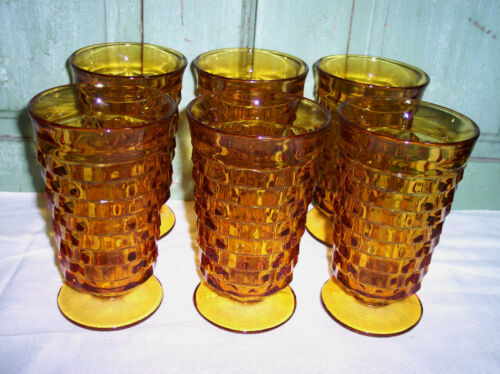 "6 NEW Indiana Whitehall Colony Amber Harvest Gold Ice Tea Tumblers 6"""