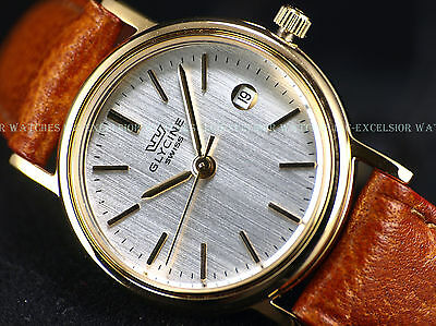 Auth  Dealer New Glycine 26Mm Swiss Made Quartz Gold Tone Silver Dial Ss Watch